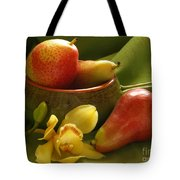 Orchid With Pears Tote Bag