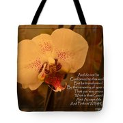 Orchid With Verse Tote Bag