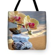 Orchids And Pebbles On Sand Tote Bag