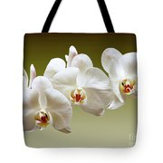 Orchids In Green Tote Bag