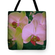 Orchids In Pink And Green Tote Bag