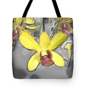 Orchids With Oil Slick Pattern Tote Bag