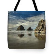 Oregon Sea Stack Reflections Tote Bag by Adam Jewell