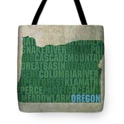 Oregon Word Art State Map On Canvas Tote Bag