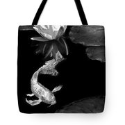 Oriental Koi Fish And Water Lily Flower Black And White Tote Bag