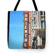 Oriental Theater With Sponge Painting Effect Tote Bag