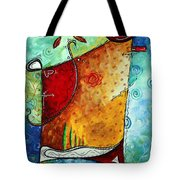 Original Abstract Pop Art Style Colorful Landscape Painting Home To Tuscany By Megan Duncanson Tote Bag