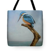 Original Animal Oil Painting Bird  Art Kingfisher On Canvas#16-2-6-15 Tote Bag