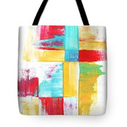 Original Bold Colorful Abstract Painting Patchwork By Madart Tote Bag by Megan Duncanson