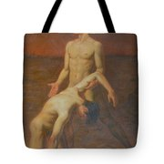 Original Classic Oil Painting Body Art - Two Male Nude-  034 Tote Bag
