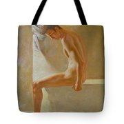Original Classic Oil Painting Body Man Art- Male Nude In The Bathroom#16-2-3-01 Tote Bag