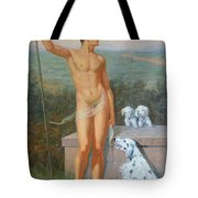 Original Classic Oil Painting Man Body Art-male Nude And Dogs #16-2-4-11 Tote Bag