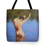 Original Classic Oil Painting Man Body Art-male Nude Standing In The Pool #16-2-4-05 Tote Bag