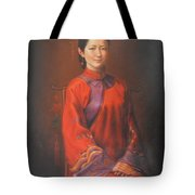 Original Classic Portrait Oil Painting Woman Art - Beautiful Chinese Bride Girl Tote Bag