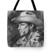 Original Drawing Sketch Charcoal Chalk  Gay Man Portrait Of Cowboy Art Pencil On Paper By Hongtao  Tote Bag