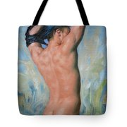 Original Impression Oil Painting Gay Man Body Art Male Nude-018 Tote Bag