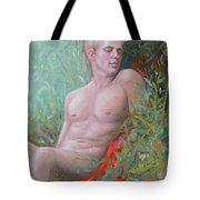 Original Impression Oil Painting Man Body Art Male Nude#16-2-5-50 Tote Bag