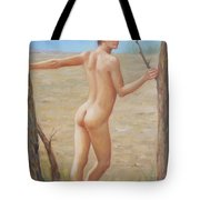 original Oil painting boy art male nude on canvas#16-2-5-07 Tote Bag