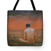 Original Oil Painting Gay Man Art-male Nude#16-2-5-43 Tote Bag