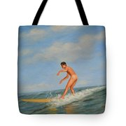 original Oil painting  male nude  man art  in the sea on canvas#16-2-5-01 Tote Bag