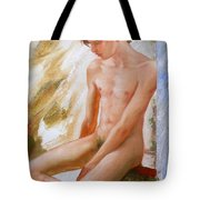Original Boy Man Body Oil Painting Male Nude Sitting On The Window#16-2-5-28 Tote Bag