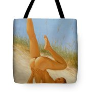 Original Oil Painting Man Art Male Nude On Sand On Canvas#16-2-5-05 Tote Bag
