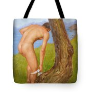 Original Oil Painting Man Body Art Male Nude-029 Tote Bag