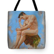 Original Oil Painting Man Body Art - Male Nude -037 Tote Bag