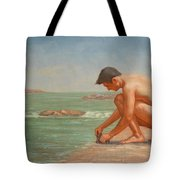 Original Oil Painting Man Body Art Male Nude By The Sea#16-2-5-42 Tote Bag