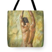 original Oil painting man body art  male nude on canvas #16-2-5-03 Tote Bag