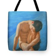 Original Oil Painting Man Body Art Male Nudeby The Pool -028 Tote Bag