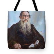 original oil painting - portrait of Leo Tolstoy #16-2-5-27 Tote Bag