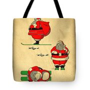 Original Patent For Santa On Skis Figure Tote Bag by Edward Fielding