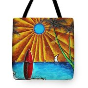 Original Tropical Surfing Whimsical Fun Painting Waiting For The Surf By Madart Tote Bag