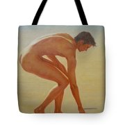 Original  Young Man Body Oil Painting  Gay Art - Male Nude By The Sea-055 Tote Bag
