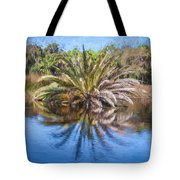 Ormond Scenic Loop Florida Palm Tree Painted  Tote Bag