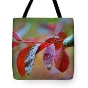 Ornamental Plum Tree Leaves With Raindrops - Digital Paint Tote Bag