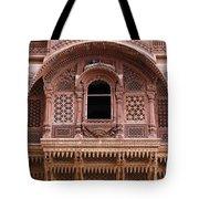Ornate Balcony At Meherangarh Fort At Jodhpur In India Tote Bag