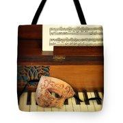 Ornate Mask On Piano Keys Tote Bag