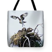 Osprey In Flight Over Nest Tote Bag