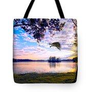 Osprey Leaving Perch Sundown Lake Tote Bag