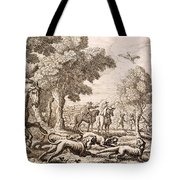 Otter Hunting By A River, Engraved Tote Bag