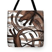 Otter With Eel, 2013 Woodcut Tote Bag