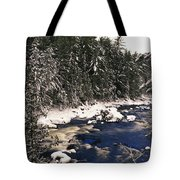 Ouareau River And Snow Covered Tote Bag