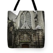 Oude Kerk Door With Bikes Amsterdam Tote Bag