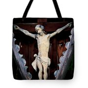 Outdoor Display Of The Crucifixion Of Christ Tote Bag