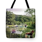 Outdoor Furniture By Lloyd On Grassy Hillside Tote Bag