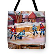 Outdoor Rink Hockey Game In The Village Hockey Art Canadian Landscape Scenes Carole Spandau Tote Bag