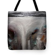 Outpour 2 Modern Waterscape Original Painting On Canvas Tote Bag