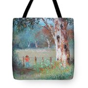 Over The Fence By Jan Matson Tote Bag
